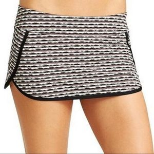 Athleta Taupe and Black Stripped Workout Skort